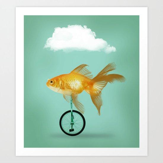unicyle goldfish III Art Print