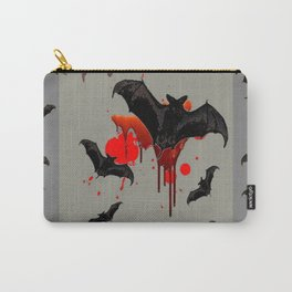GREY ART OF FLYING BLACK BATS BLOODY  HALLOWEEN PARTY Carry-All Pouch