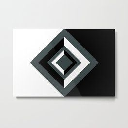 PPG Night Watch, Black and White Geometric Shapes, Diamond Minimal Illustration Metal Print