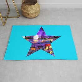 Mirrored Purple Disco Ball Star Rug