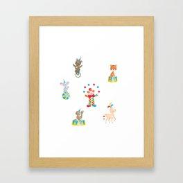 Circus Clown And Animals Framed Art Print
