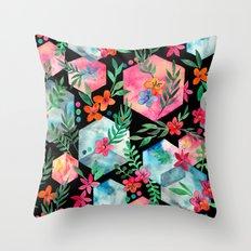 Whimsical Hexagon Garden on black Throw Pillow