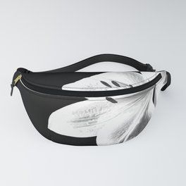 White Lily Black Background Fanny Pack