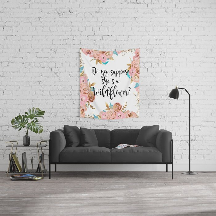 Blush and gold wildflower Wall Tapestry
