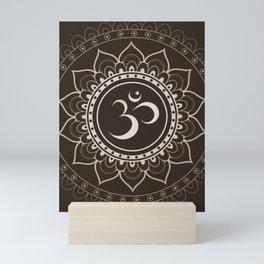 Espresso Brown Om Mandala Mini Art Print