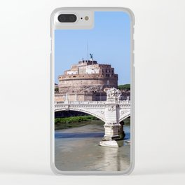 Vittorio Emanuele II bridge and Sant'Angelo castle - Rome, Italy Clear iPhone Case
