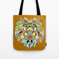 metallic Tote Bags featuring Metallic Lion by J&C Creations