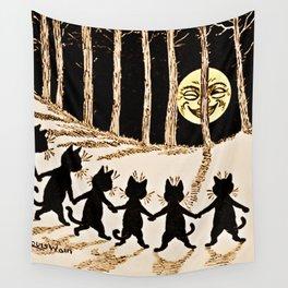 Cats & a Full Moon-Louis Wain Black Cats Wall Tapestry