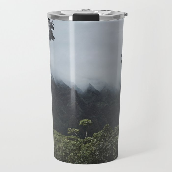 Foggy Oahu Green Travel Mug