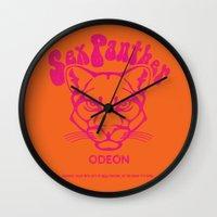anchorman Wall Clocks featuring ANCHORMAN - Sex Panther  by John Medbury (LAZY J Studios)