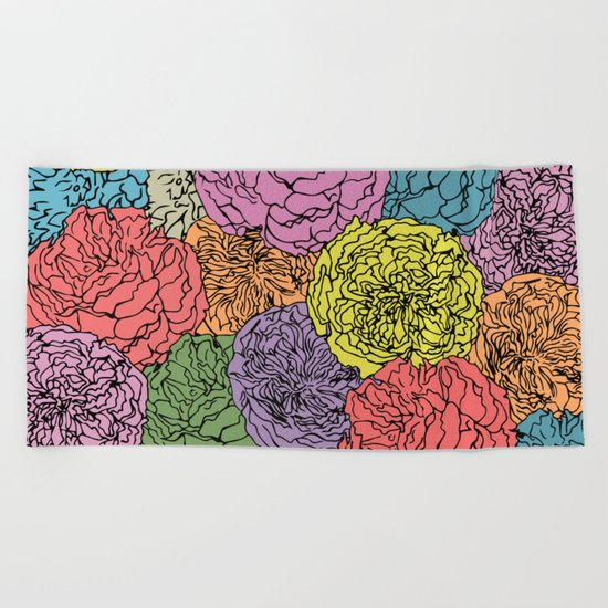 LONG LIVE THE SPRING! (abstract tropical flowers) Beach Towel