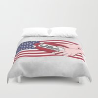 rugby Duvet Covers featuring Rugby USA Flag  by mailboxdisco