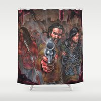 zombies Shower Curtains featuring Walking Zombies! by Peejay Catacutan