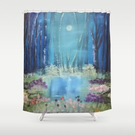 Nightfall at the pond Shower Curtain