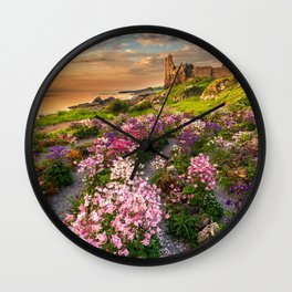 Scottish Castle ruin at Sunset Wall Clock