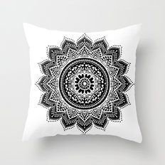 black white mandala Throw Pillow