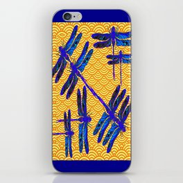 Decorative Rich Blue Dragonflies Asian Brown-Cream Pattern iPhone Skin