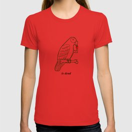 """""""is dead"""" – Parrot with a Human Hand on a Bone Illustration T-shirt"""