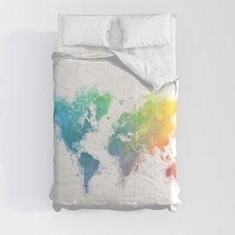World Map splash 1 Comforters