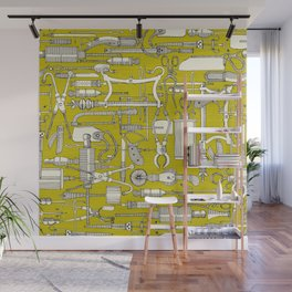 fiendish incisions chartreuse Wall Mural