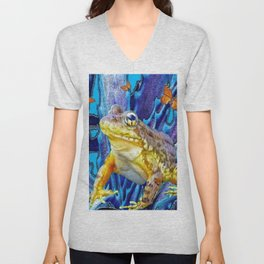 FROG IN BLUE ABSTRACT MONARCH BUTTERFLIES ART Unisex V-Neck