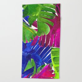 Colorful tropical leaves Beach Towel