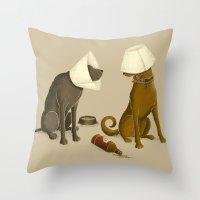 drunk Throw Pillows featuring Drunk Dog by Jonah Makes Artstuff