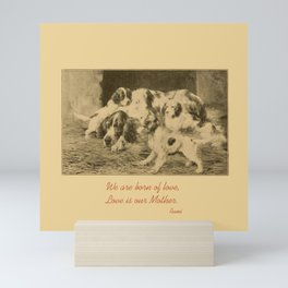 English Setter puppies & Mother's Day quote Mini Art Print