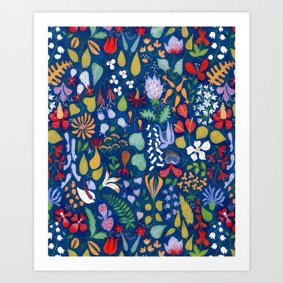 Colorful botanical pattern Art Print