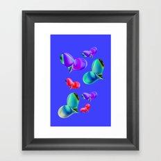 Love Hearts - Blue Framed Art Print