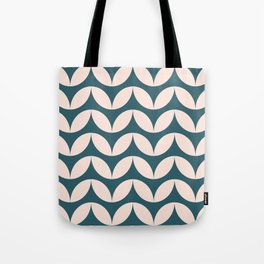 Geometric Leaf Shapes in Teal and Blush Tote Bag