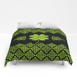Irish Shamrock Four-leaf clover with celtic decor Comforters