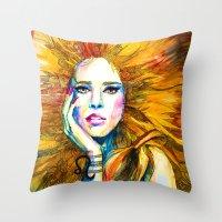 zodiac Throw Pillows featuring Leo Zodiac by Slaveika Aladjova