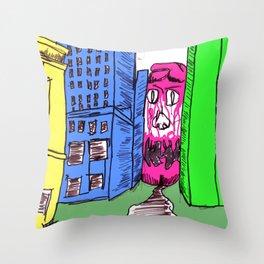 Monster City Throw Pillow