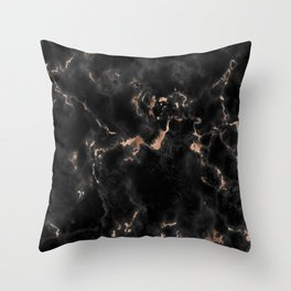Rose Gold and Black Marble Throw Pillow