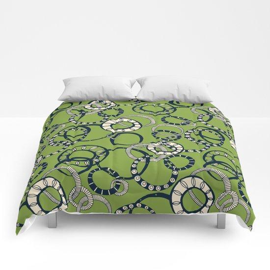 Honolulu hoopla green Comforters