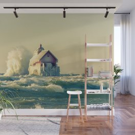 Grand Haven Pier Head Lighthouse Winter Waves off Lake Michigan Wall Mural