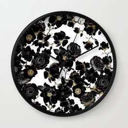 Modern Elegant Black White and Gold Floral Pattern Wall Clock