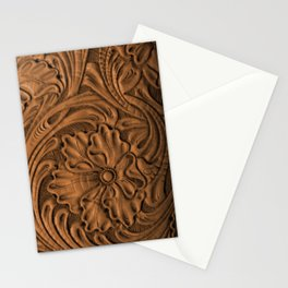 Golden Tanned Tooled Leather Stationery Cards