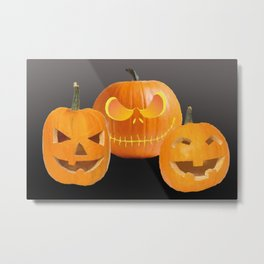 Orange Halloween Pumpkin faces Metal Print