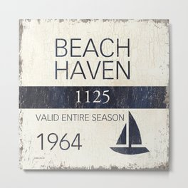 Beach Haven Beach Badge Metal Print
