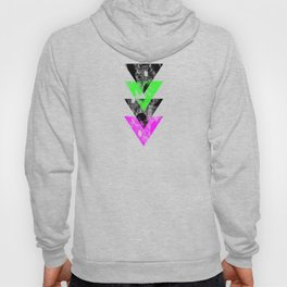 Descent - Geometric Abstract In Black, Green And Pink Hoody
