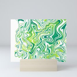 Lime Marbled Agate Slice Mini Art Print