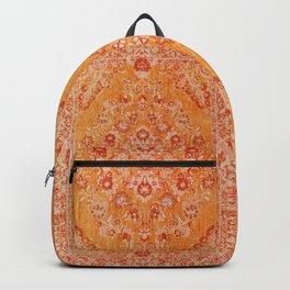 Orange Boho Oriental Vintage Traditional Moroccan Carpet style Design Backpack
