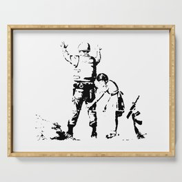 Stop and Search - Girl and a Soldier - Banksy Serving Tray