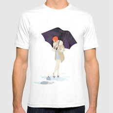 RAINY DAY FLOWER MEDIUM White Mens Fitted Tee
