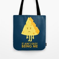 sayings Tote Bags featuring It ain't easy being cheesy by Picomodi
