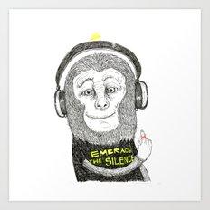 No Ear - Wise Monkey Art Print
