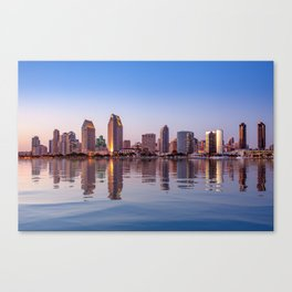 Gorgeous San Diego skyline reflected in water Canvas Print