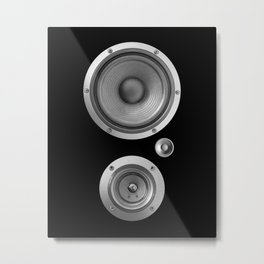 Subwoofer Speaker on black Metal Print